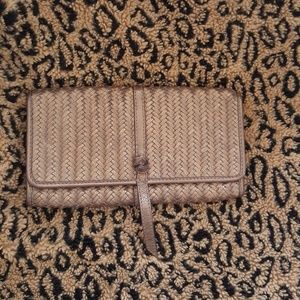 Bronze woven leather clutch
